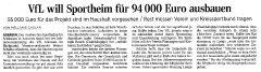 VfL will Sportheim für 94.000 € ausbauen
