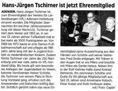 Hans-Jürgen Tschirner ist jetzt Ehrenmitglied