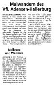 Maiwandern des VfL Adensen-Hallerburg