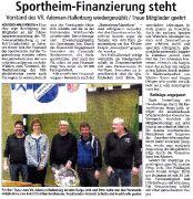 Sportheim-Finanzierung steht